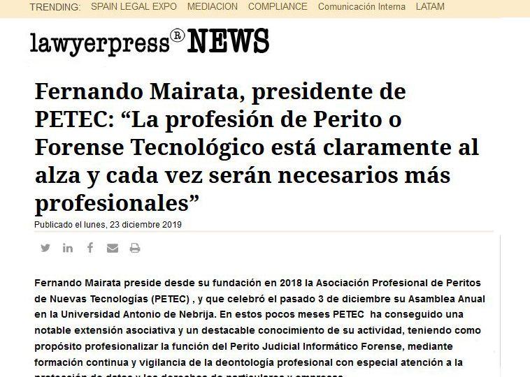 Entrevista en Lawyerpress a Fernando Mairata presidente de PETEC