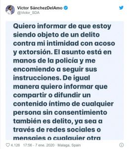 Captura del tweet de Victor Sánchez Del Amo
