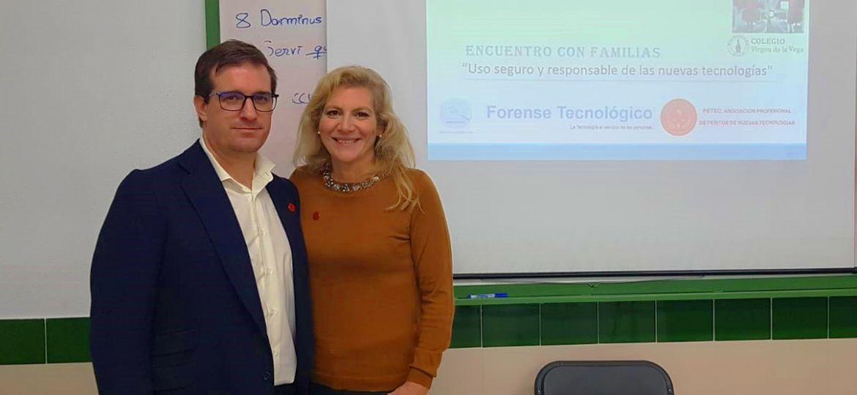 Eva Álvarez del Manzano y Fernando Mairata en una formación en el Colegio Virgen de la Vega