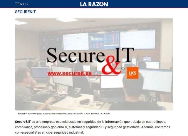 Secure&it en el artículo Top ciberseguridad de La Razón