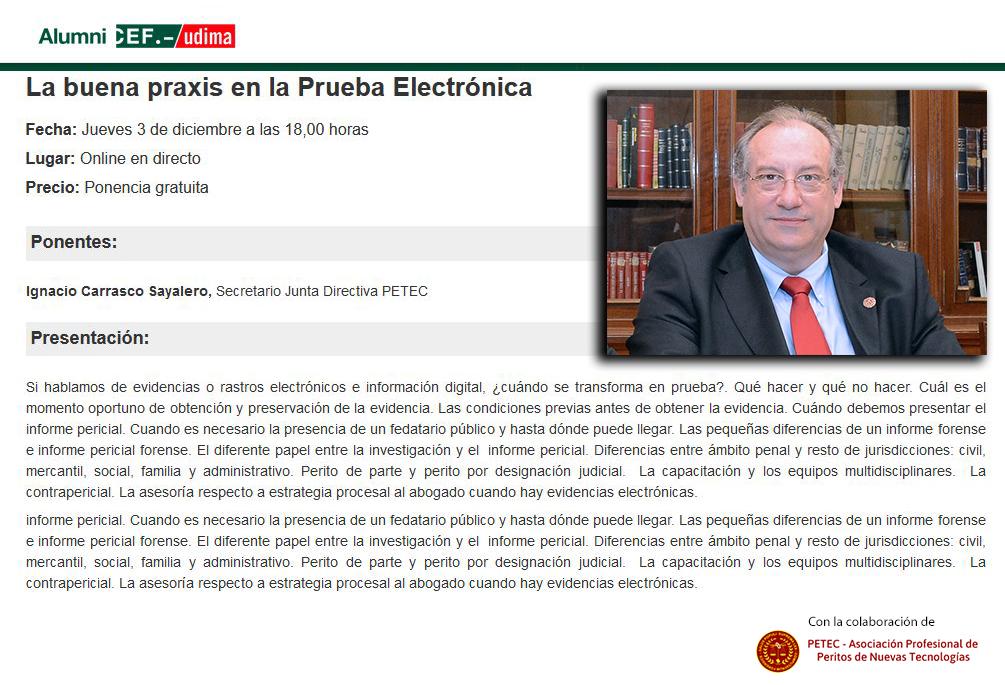 Ponencia de Ignacio Carrasco La buena praxis en la Prueba Electrónica en ACEF- Udima