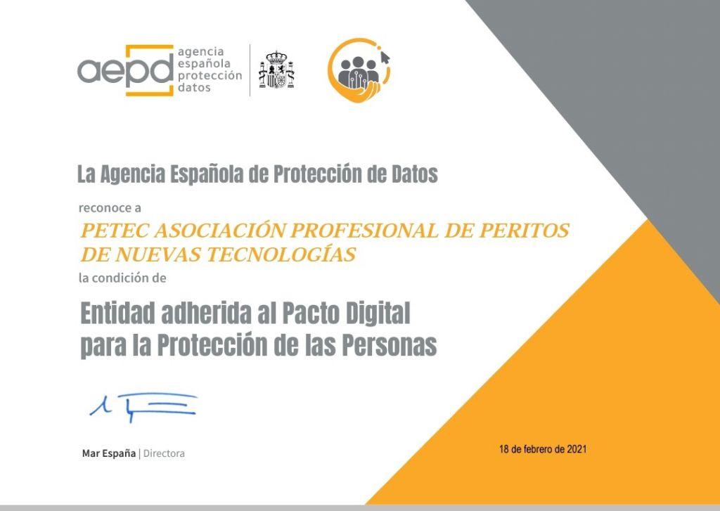 PETEC entidad adherida al pacto digital para la protección de las personals de la AEPD