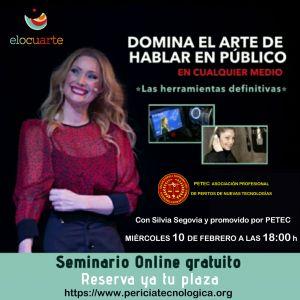 Webinar domina el arte de hablar en público con Silvia Segovia y promovido por PETEC