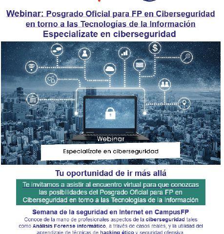 Webinar Especialízate en Ciberseguridad organizado por Campus FP