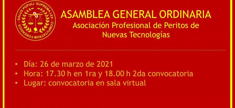 ASAMBLEA GENERAL ORDINARIA Asociación Profesional de Peritos de Nuevas Tecnologías