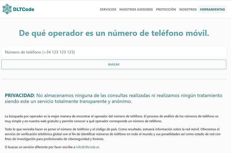 Herramienta ¿De qué operador es un número de teléfono móvil?