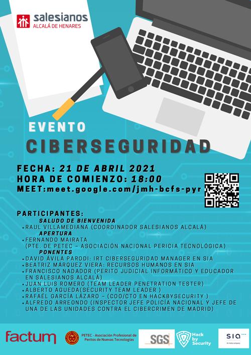 Cartel del evento Ciberseguridad Salesianos Alcalá de Henares con colaboación de PETEC