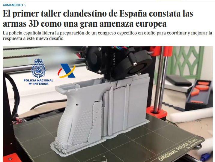 """Recorte del artículo de El País """"El primer taller clandestino de España constata las armas 3D como una amenaza europea"""", en el que Fernando Mairata fue consultado"""
