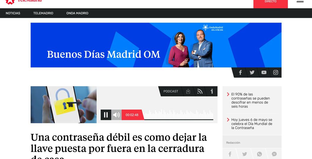 Fernando Marita de PETEC, en el programa sobre el Día mundial de las contraseñas en Buenos días Madrid de Onda Madrid