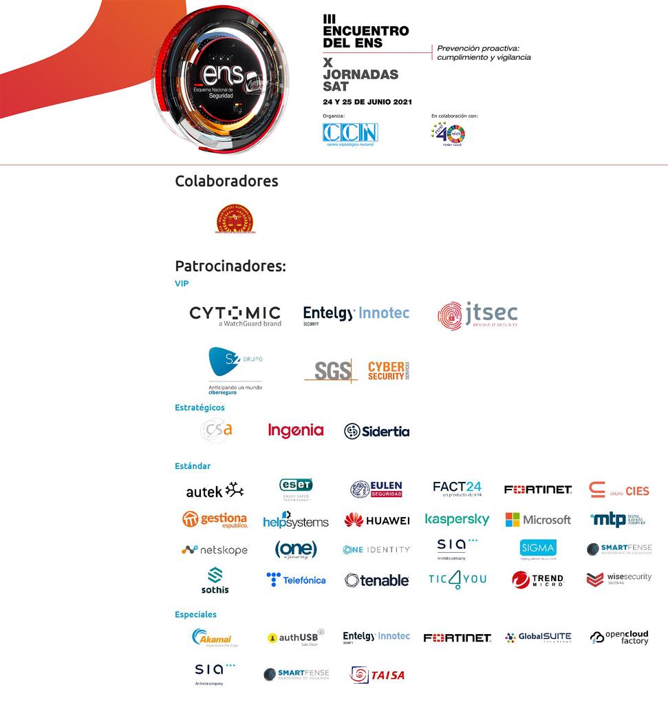 Colaboradores y patrocinadores del III Encuentro del ENS y la X Jornada SAT 2021