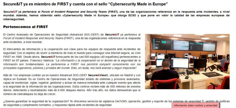 Secure&IT ya es miembro de FIRST y cuanta con el sello Cybersecurity Made in Europe
