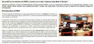 Secure&IT ya es miembro de FIRST y cuenta con el sello Cybersecurity Made in Europe