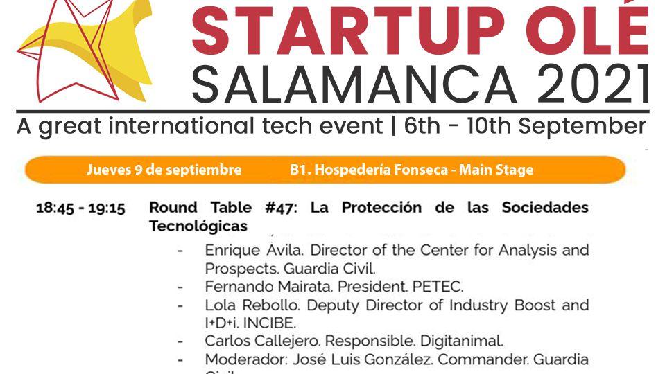 PETEC en mesa redonda en startup ole 2021 el 9 de septiembre a las 18:45 en el pabellón B1